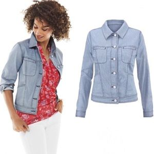 CABI 5159 Locomotive Denim Jean Jacket Striped L